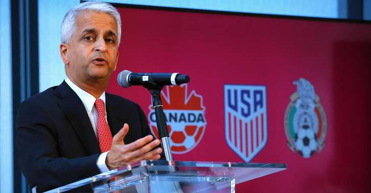(FILES) This file photo taken on April 10, 2017 shows Sunil Gulati President of United States Soccer Federation attending a press conference at the One World Trade Center in New York. US Soccer Federation president Sunil Gulati said on October 13, 2017 he will not resign and might even seek re-election despite the Americans failing to qualify for next year's World Cup in Russia. Just minutes after US coach Bruce Arena resigned in the wake of Tuesday's 2-1 loss at Trinidad and Tobago and the team missing the World Cup for the first time since 1986, Gulati took the blame for the humiliating failure.  / AFP PHOTO / KENA BETANCURKENA BETANCUR/AFP/Getty Images