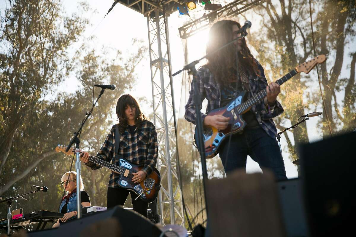 Courtney Barnett & Kurt Vile and the Sea Lice perform at the Swan Stage during the Hardly Strictly Bluegrass in San Francisco, Calif. Sunday, October 8, 2017.
