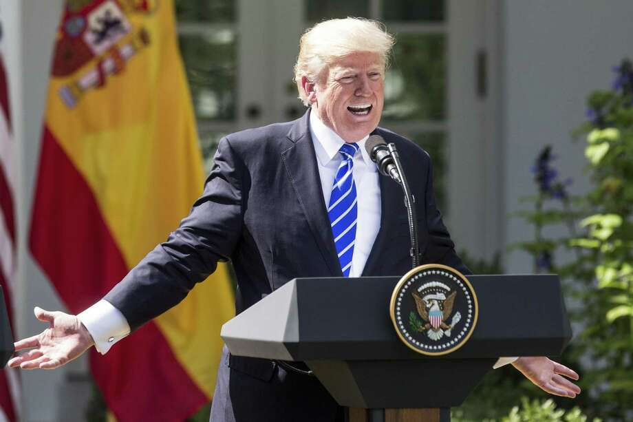 U.S. President Donald Trump, shown here at a joint press conference with Spain's prime minister on Sept. 26, has always had a contentious relationship with the press, but his suggestion that NBC should have its license pulled because of allegedly fake news reveals his misunderstanding both of how broadcast licensing works and of press freedom. Photo: Zach Gibson /Bloomberg / © 2017 Bloomberg Finance LP