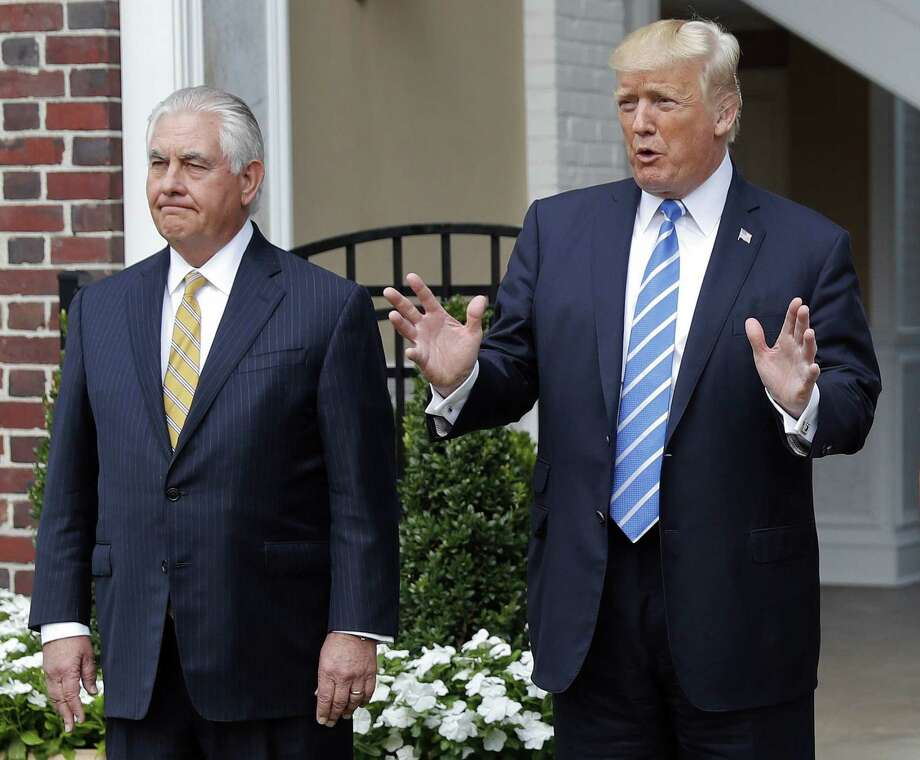 Naming Rex Tillerson (left) secretary of state is akin to appointing a career diplomat to run a Fortune 500 company. He should go. Photo: Pablo Martinez Monsivais /Associated Press / Copyright 2017 The Associated Press. All rights reserved.