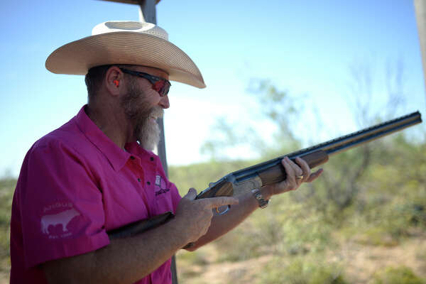 "Bob Tonkin of Angus Measurement participates in the annual ""Saving True Pairs"" clay shoot to benefit Pink The Basin on Oct. 13, 2017, at Jake's Clays. The event raised more than $150,000 dollars. James Durbin/Reporter-Telegram"