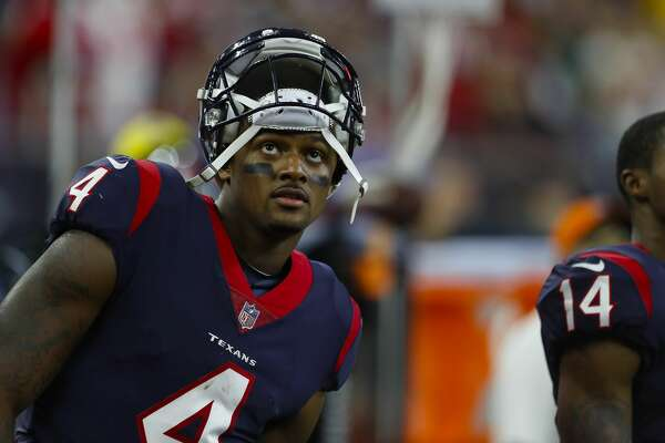 Houston Texans quarterback Deshaun Watson (4) watches during the fourth quarter of an NFL football game at NRG Stadium on Sunday, Oct. 8, 2017, in Houston. ( Brett Coomer / Houston Chronicle )