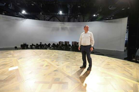"Perryn Leech, Managing Director of Houston Grand Opera looks over the HGO's progress to put on La Traviata, as it transforms a George R. Brown Convention Hall into a grand opera house Wednesday, Oct. 11, 2017, in Houston. Houston Grand Opera moved to the George R. Brown Center Exhibition Hall A3, now titled the ""HGO Resilience Theatre."" ( Steve Gonzales / Houston Chronicle )"