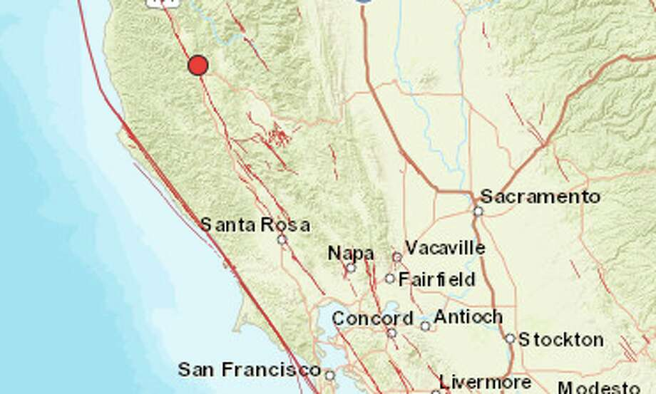 A 4.0-magnitude quake struck north of Ukiah on Friday, October 13, 2017. Photo: USGS