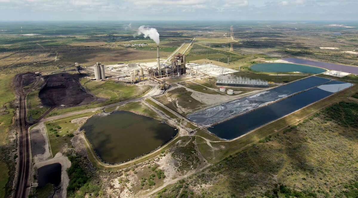 An aerial image shows the San Miguel lignite coal power plant Wednesday, May 17, 2017 near Campbellton, Texas.