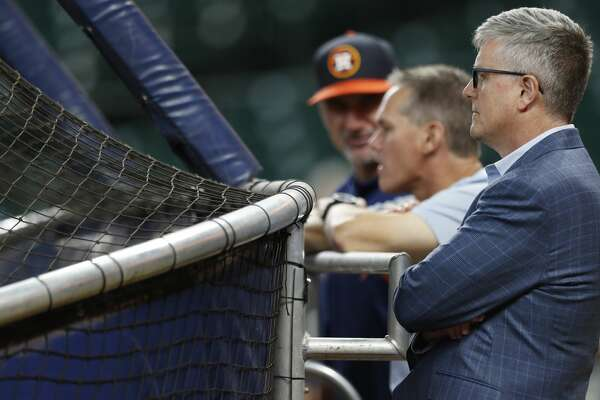 Houston Astros GM Jeff Luhnow behind the batting cage during batting practice before the start of an MLB game at Minute Maid Park, Wednesday, Aug. 16, 2017, in Houston.  ( Karen Warren / Houston Chronicle )