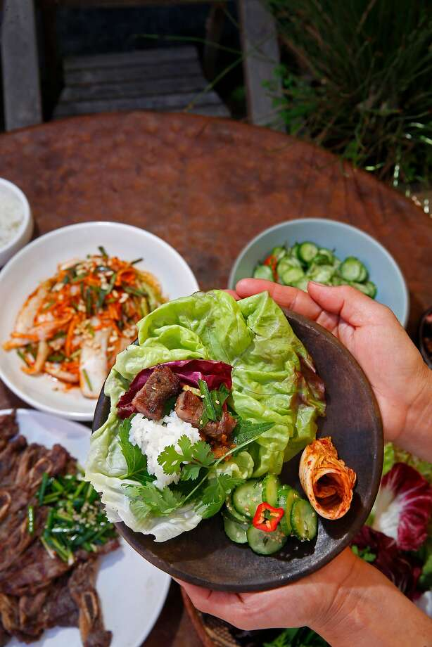 Ingredients for the lettuce wraps known as ssam. Photo: Michael Macor, The Chronicle