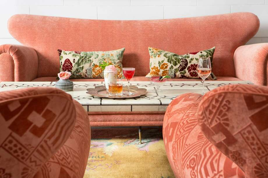 Designer Kelly Wearstler brought an updated European salon-style design to the Proper's lobby. Visitors can choose which vignette suits their mood, from an ultra feminine, rosé-hued area perfect for a post-shopping cocktail to a Cubist-inspired nook for thoughtful conversation. Photo: Noah Webb