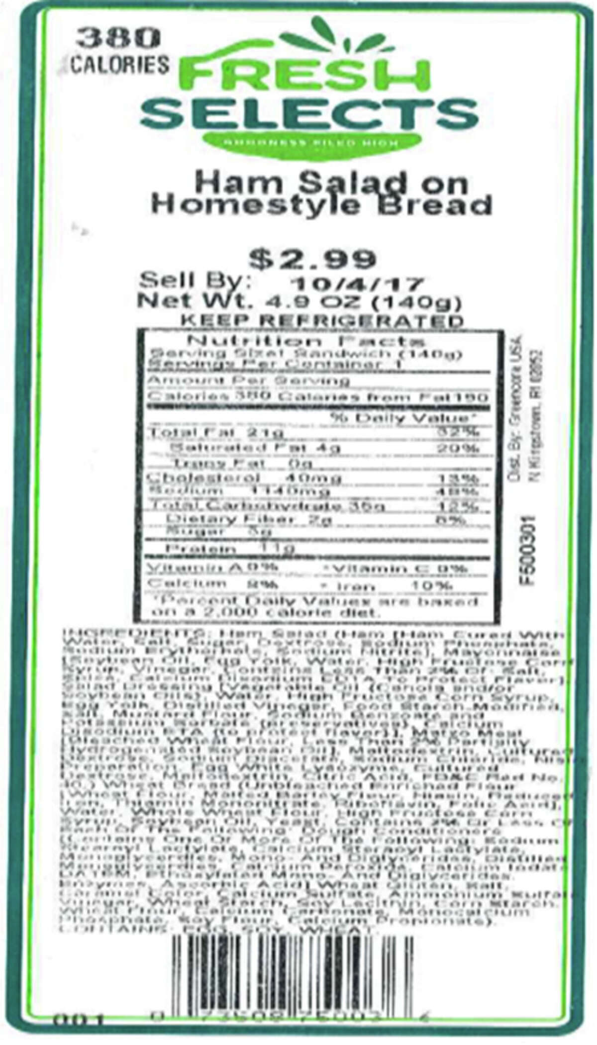 The FDA recalled ham salad sandwiches, egg salad sandwiches and seafood stuffing sold at three New York chains after samples tested positive for Listeria on Sept. 29, 2017.