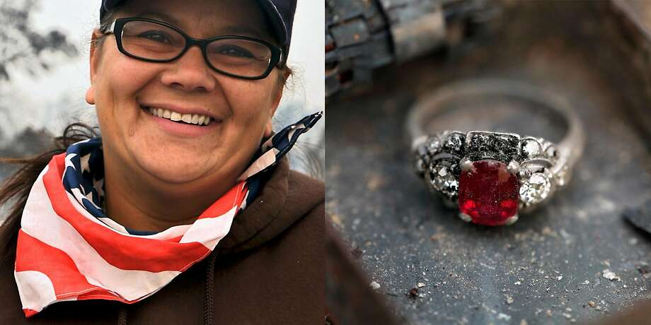 "Teresa Gilman found her mother-in-law's ruby ring while digging through the rubble of her Santa Rosa home on Tuesday, Oct. 10, 2017. ""The things that she asked for that were most important I believe we found so I'm really happy about that and grateful that we're all safe and we have the love and care from our family and friends,"" said Gilman,  ""We'll get through this. That's what family does."" Photo: Guy Wathen, The Chronicle"
