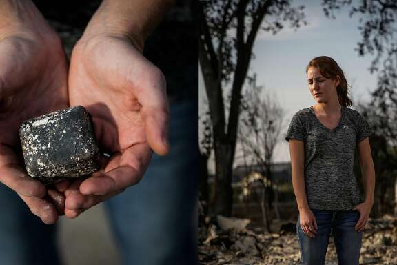 """Jen Ridino, 27, stands on her property in the Coffey Park neighborhood where her house was destroyed in the Tubbs fire in Santa Rosa, Calif., on Tuesday, Oct. 10, 2017. Jen recently became in engaged to her fiancee Jake (not pictured) in March 2017. She said, """"I loved this neighrborhood. This house was the start of everything for us. The start of our life together."""" She is holding the burnt jewelry box her fiancee Jake gave her when he proposed in Santa Rosa, Calif., on Tuesday, Oct. 10, 2017. Jen recently became in engaged to her fiancee Jake (not pictured) in March 2017 and moved into their home shortly after. She said, """"I loved this neighborhood. This house was the start of everything for us. The start of our life together"""". Jen recalls finding the box that her engagement ring came in. She says, """" You don't remember all the little things that were destroyed until later. When we went back to the house Jake said to me, """"Oh my God, Jen look"""" and it was just sitting up there picturesque for us to find. It was sitting perfectly amid the ashes and on top of a swamp. It means everything to me to find this. It's a big sentimental thing for me. It's not the box, its the sentiment. It's the promise we made to each other and the memory of our engagement."""""""