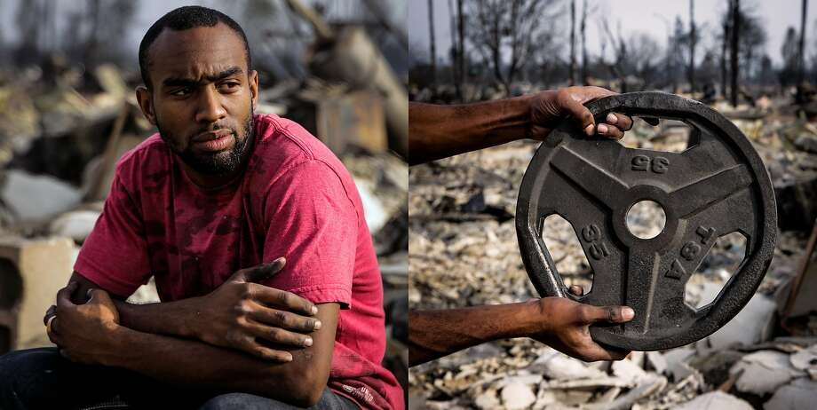 "Tarreyl Kitchen, 24, sits for a portrait at the entrance to his home in the Coffey Park neighborhood where his house was destroyed in the Tubbs fire in Santa Rosa, Calif., on Tuesday, Oct. 10, 2017. Tarreyl said, "" It's no lie. It hurts so bad but there's nothing you can be mad at. It's mother nature. You have to stay strong for those around you. Mark my words, I will come out of this on top. There is no excuse to fail."" He holds a 35-lb weight that was salvages from his home in the Coffey Park neighborhood where his house was destroyed in the Tubbs fire in Santa Rosa, Calif., on Tuesday, Oct. 10, 2017. Tarreyl said, "" It's no lie. It hurts so bad but there's nothing you can be mad at. It's mother nature. You have to stay strong for those around you. Mark my words, I will come out of this on top.""  Of finding the weight in the rubble he said, "" My dad is a personal trainer and that's what we did the most. We were always pumpin' in the back (garage). We were born to do sports. I see this as the weight that we have to carry now."" Photo: Gabrielle Lurie, The Chronicle"