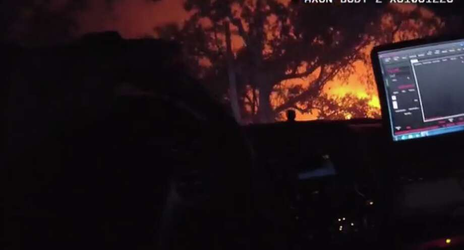 Footage taken from a deputy's body-worn camera shows a harrowing rescue in the midst of the Santa Rosa Tubbs Fire on Sunday night. Photo: Sonoma County Sheriff's Department