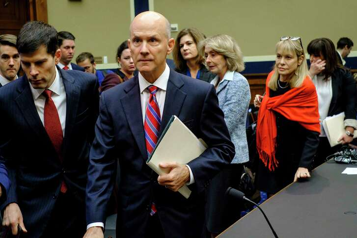 FILE — Richard Smith, the former chief executive of Equifax, arrives to testify before the House Energy and Commerce Committee in Washington, Oct. 3, 2017. When asked whether people should be able to delete their data from Equifax's systems, he eventually said that his answer was no. (Pete Marovich/The New York Times)
