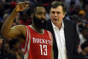NEW ORLEANS, LA - MARCH 25:  Head coach Kevin McHale of the Houston Rockets talks with James Harden #13 on the sideline during a game against the New Orleans Pelicans at the Smoothie King Center on March 25, 2015 in New Orleans, Louisiana. NOTE TO USER: User expressly acknowledges and agrees that, by downloading and or using this photograph, User is consenting to the terms and conditions of the Getty Images License Agreement.  (Photo by Stacy Revere/Getty Images)