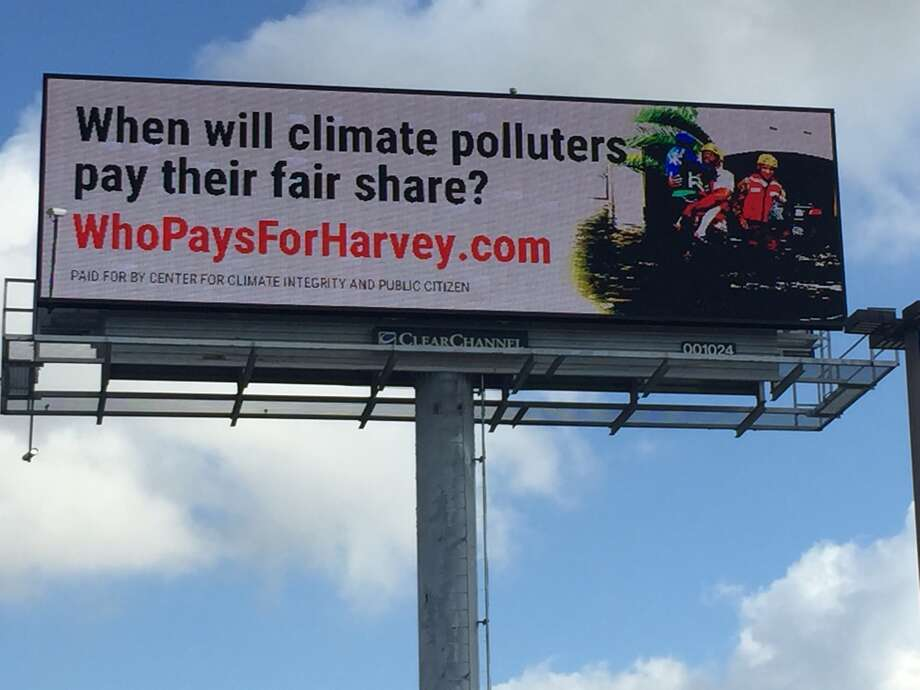 This billboard is part of a campaign by environmentalists who say energy companies are partially responsible for Hurricane Harvey's flooding. Photo: Center For Climate Integrity/Public Citizen