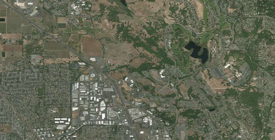 A satellite image of Santa Rosa, California taken on Oct. 11, 2017. Photo: DigitalGlobe