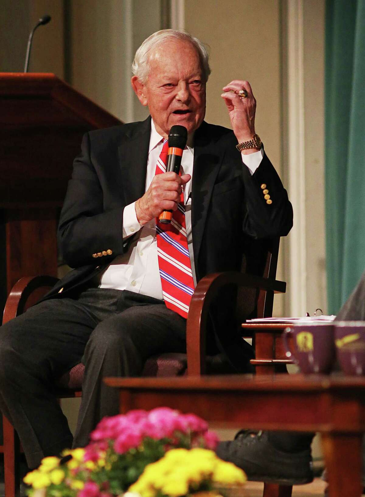 Bob Schieffer, a former anchor of ??CBS Evening News?? and ??Face the Nation,?? moderates a panel for ?Media in the Age of New Technology: Fake News, Information Overload, & Media Literacy? at UAlbany's Page Hall on Friday, Oct. 13, 2017. (Thomas Palmer/Times Union)