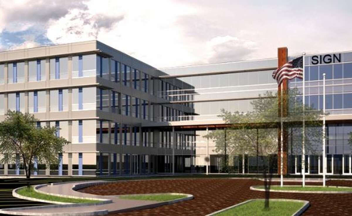 A rendering of an office building proposed for the former Starlite Theater site in Latham by Galesi Group