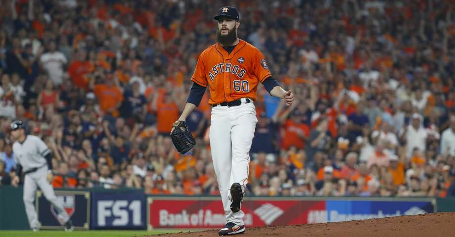 Houston Astros starting pitcher Dallas Keuchel (60) reacts after making a strikeout in the second inning of Game 1 of the ALCS at Minute Maid Park on Friday, Oct. 13, 2017, in Houston. ( Karen Warren / Houston Chronicle ) Photo: Karen Warren/Houston Chronicle