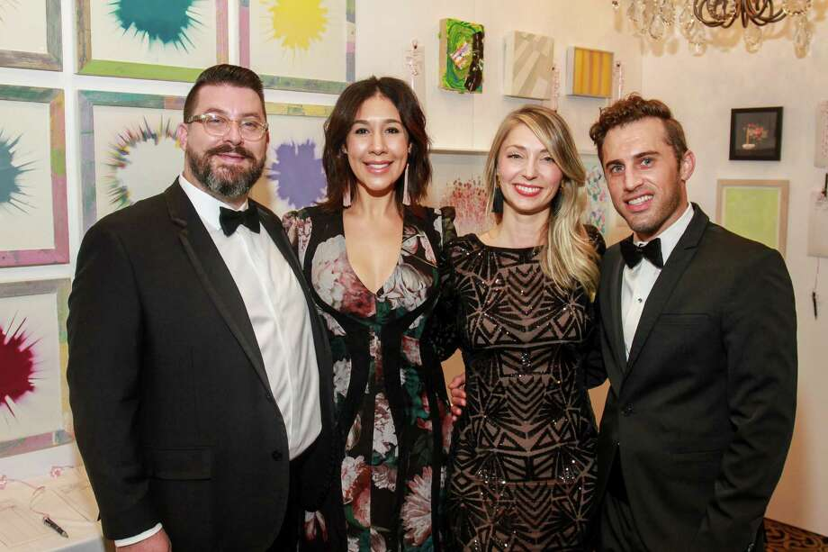 Peter Pettigrew and Calia Alvarado Pettigrew, from left, with Katharine Bowdoin Barthelme and Michael Mandola at the Art League Houston Myth & Symbol gala. Calia and Katharine are co-chairs.  (For the Chronicle/Gary Fountain, October 13, 2017) Photo: Gary Fountain, Gary Fountain/For The Chronicle / Copyright 2017 Gary Fountain