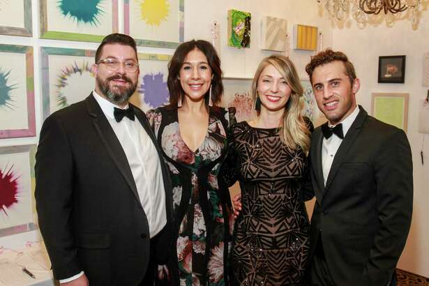 Peter Pettigrew and Calia Alvarado Pettigrew, from left, with Katharine Bowdoin Barthelme and Michael Mandola at the Art League Houston Myth & Symbol gala. Calia and Katharine are co-chairs.  (For the Chronicle/Gary Fountain, October 13, 2017)
