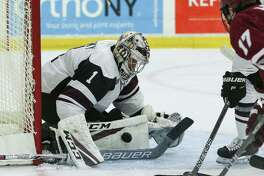 Union College Jake Kupsky (1) in goal for the home opener  against Massachusetts at Messa Rink in Schenectady NY on October 13, 2017. (Photo: Robert Dungan, Special to the Times Union) ORG XMIT: MER2017082023255053