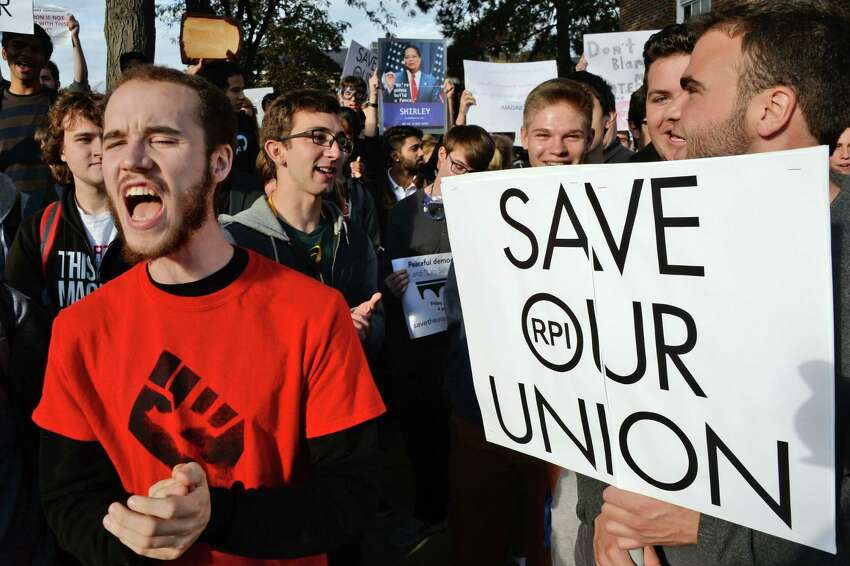 Student protesters demonstrate against the RPI administration for not respecting their free-speech right Friday Oct. 13, 2017 in Troy, NY. (John Carl D'Annibale / Times Union)
