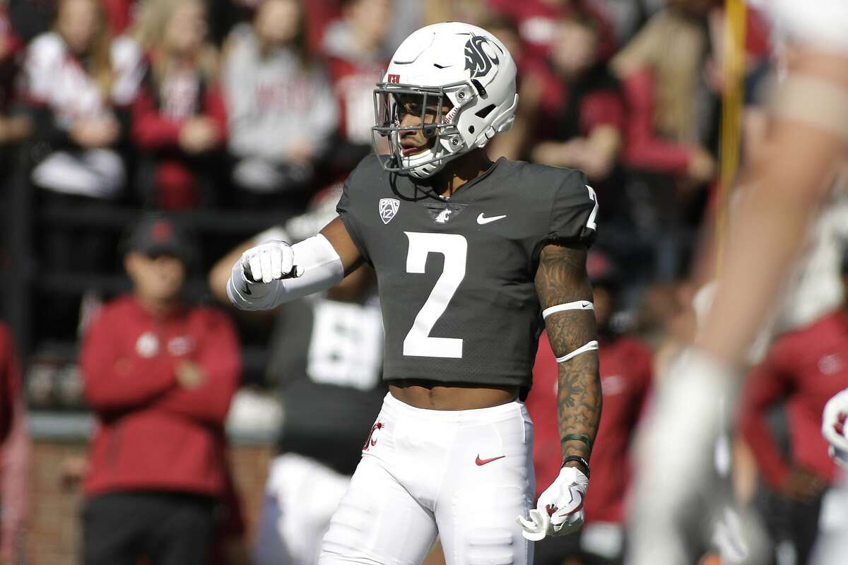 Washington State defensive back Robert Taylor (2) stands on the field during the first half of an NCAA college football game against Nevada in Pullman, Wash., Saturday, Sept. 23, 2017. (AP Photo/Young Kwak)