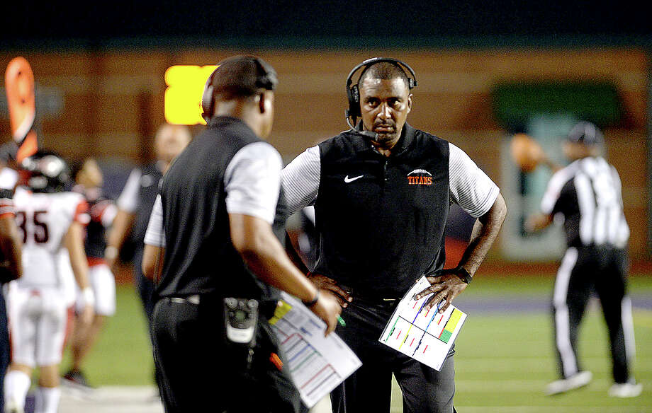 Port Arthur Memorial's coach Kenny Harrison talks with assistants as they face PNG during their match-up Friday night at PNG. Both teams entered the field undefeated. Photo taken Thursday, October 12, 2017 Kim Brent/The Enterprise Photo: Kim Brent / BEN