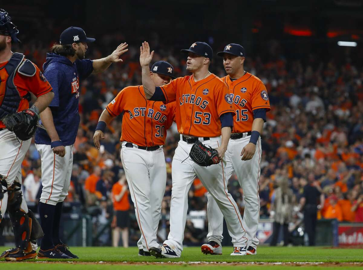 Houston Astros relief pitcher Ken Giles (53) celebrates the team's 2-1 win over the New York Yankees in Game 1 of the ALCS at Minute Maid Park on Friday, Oct. 13, 2017, in Houston. ( Karen Warren / Houston Chronicle )
