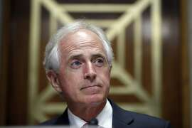 In this Sept. 19, 2017, photo, Sen. Bob Corker, R-Tenn., pauses on Capitol Hill in Washington. Congressional Republicans who�ve demanded a bigger say in how the Iran nuclear agreement works are getting just what they want after President Donald Trump directed lawmakers to make the international accord more stringent. Corker, the Foreign Relations Committee chairman, will be at the center of what�s sure to be a stormy debate over the nuclear accord. And he�s in the midst of a feud with Trump. (AP Photo/Alex Brandon, File)