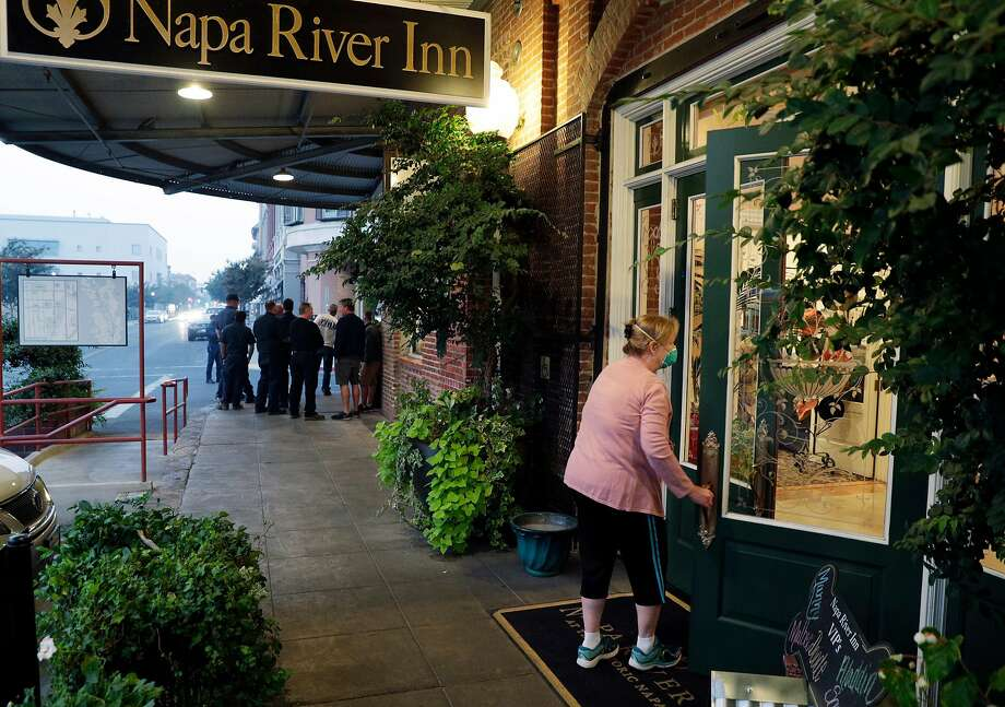 The Napa River Inn, part of the area's significant tourism sector, has opened its doors to fire evacuees and first responders. Photo: Carlos Avila Gonzalez, The Chronicle