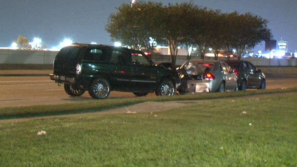 A screenshot of video footage of a collision on the frontage road of the Katy Freeway on Oct. 13, 2017. Officials said a drunk driver crashed into a man, killing him in front of his family.