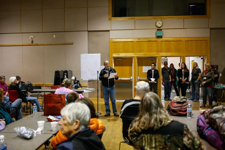 Santa Rosa Mayor Chris Coursey speaks to evacuees at a Red Cross evacuation center at the Finley Community Center in Santa Rosa on Tuesday. Photo: Gabrielle Lurie, The Chronicle