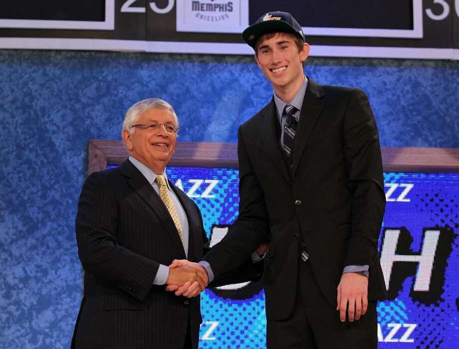 NEW YORK - JUNE 24:  Gordon Hayward stands with NBA Commisioner David Stern after being drafted ninth by  The Utah Jazz at Madison Square Garden on June 24, 2010 in New York, New York.  (Photo by Al Bello/Getty Images) Photo: Al Bello, Getty Images / 2010 Getty Images
