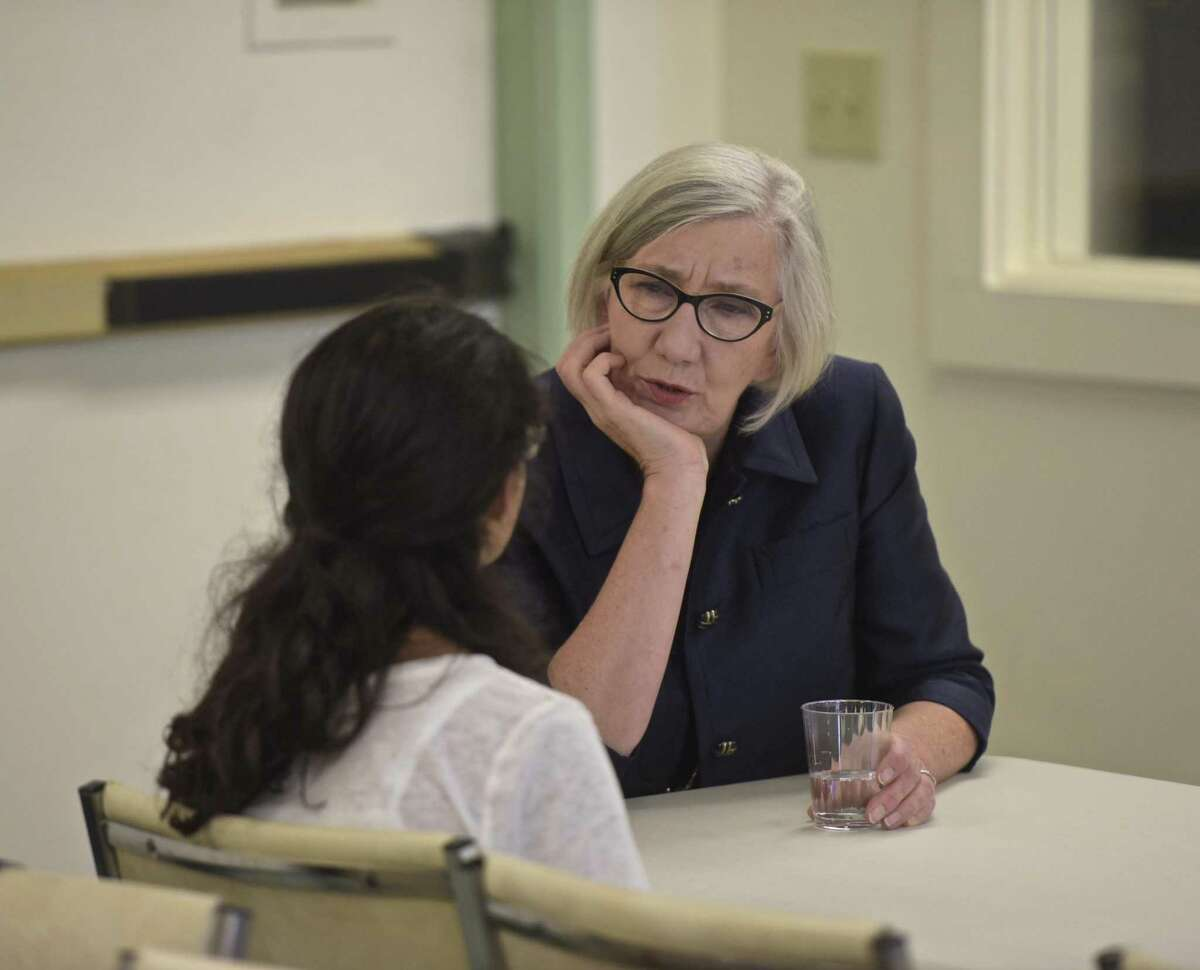 Frances Walton, Chairperson of the Ridgefield Board of Education, stops to talk with Natalie DiCostanzo, of Woodbury, before a meeting of Ms President US, a nonprofit created after the 2016 election aims to teach girls 4th through 8th grade about civic engagement and leadership skills. Friday afternoon, October 13, 2017, in Ridgefield, Conn.