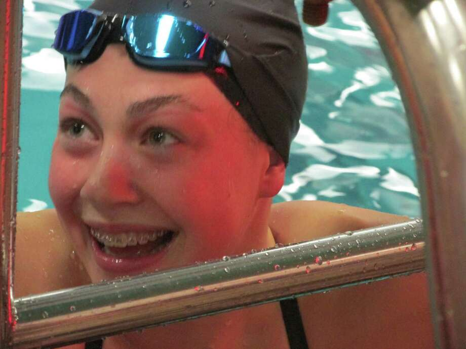 Freshman Julia McCarthy won the 200-yard freestyle just two seconds away from the Torrington YMCA pool record in the Raiders' loss to Watertown Friday night. Photo: Peter Wallace / For Connecticut Hearst Media