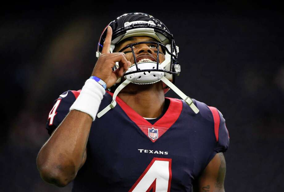 FILE - In this Sunday, Oct. 8, 2017, file photo, Houston Texans quarterback Deshaun Watson (4) warms up before an NFL football game against the Kansas City Chiefs in Houston. But while Watson has improved each week since taking over at halftime of the season opener, Cleveland's DeShone Kizer has struggled so much that the Brown benched him this week as they look to get their first win on Sunday at Houston. (AP Photo/Eric Christian Smith, File) Photo: Eric Christian Smith, FRE / FR171023 AP