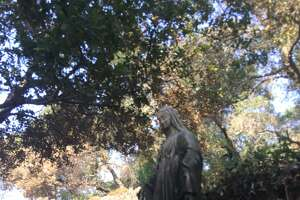 The statue of Mary on Tuesday. The statue was white prior to the fire.