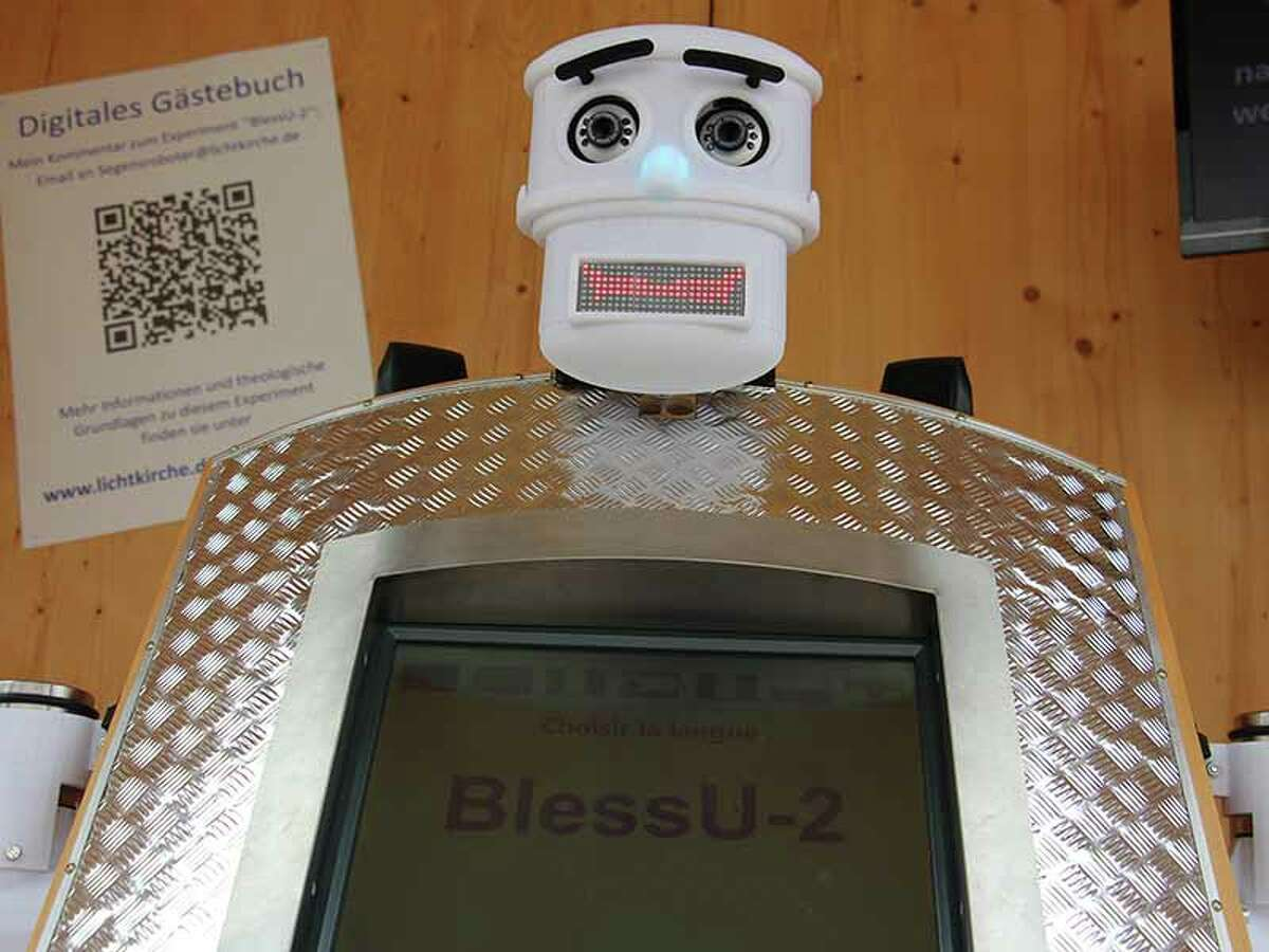 The Evangelical Church in Hesse and Nassau in Germany doesn't want to replace human pastors with robots. It just wants to get people talking about the nature of blessing. The robot offers blessings in seven languages.