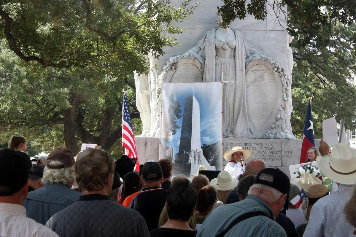 A large crowd converged on downtown San Antonio and Alamo Plaza to protest the removal of the Cenotaph under the Alamo master plan. The plan calls for the Cenotaph's removal because it is not part of the Alamo's history. It was built about 100 years after the Battle of the Alamo.