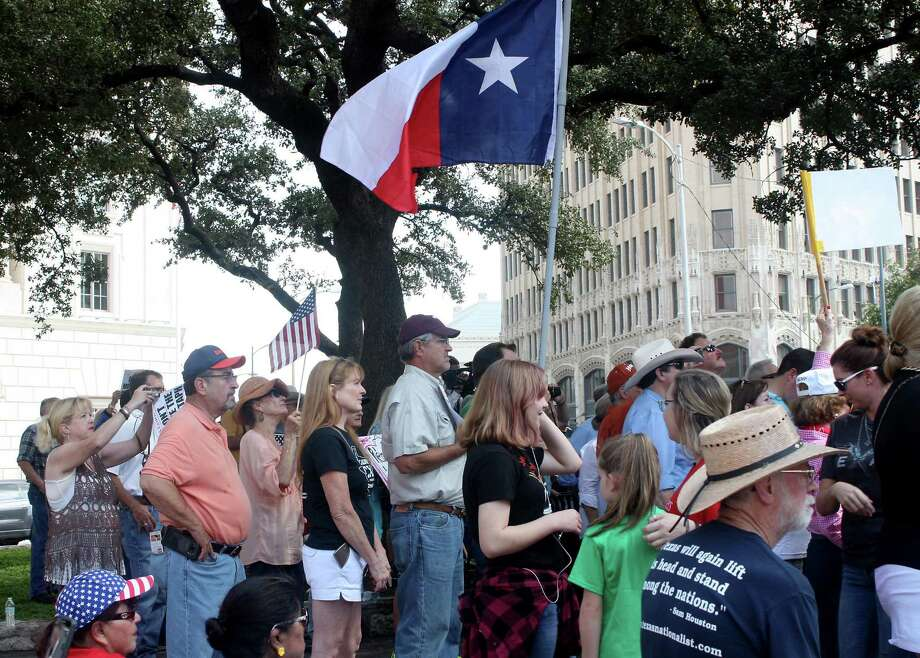 A large crowd converged on downtown San Antonio and Alamo Plaza to protest the removal of the Cenotaph under the Alamo master plan. The plan calls for the Cenotaph's removal because it is not part of the Alamo's history. It was built about 100 years after the Battle of the Alamo. Photo: Patrick Danner, Staff / San Antonio Express-News / 2017 San Antonio Express-News