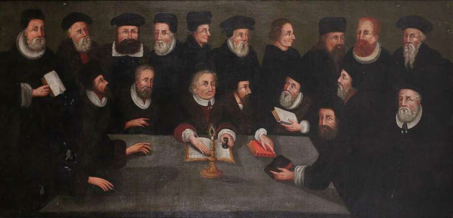 """""""Fathers of the Reformation,"""" a 17th-century painting owned by Yale Divinity School, before restoration was begun. Photo: Courtesy Of Kathy Hebb"""