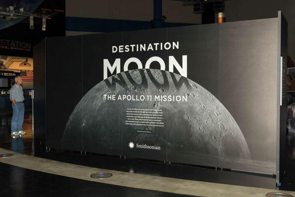 October 14, 2017: Entrance to Destination Moon at the Apollo 11 Exhibit Opening at Space Center Houston in Houston, Texas. (Leslie Plaza Johnson/Freelance