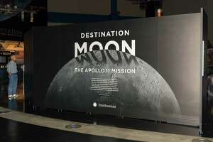 October 14, 2017:  Entrance to Destination Moon at the Apollo 11 Exhibit Opening at Space Center Houston in Houston, Texas. (Leslie Plaza Johnson/Freelance