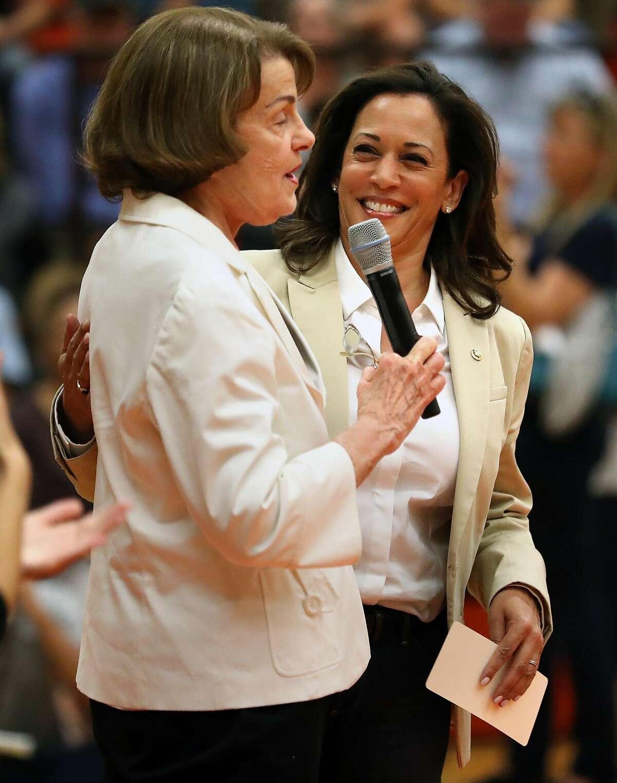 Senator Dianne Feinstein introduces fellow Senator Kamala Harris during a Sonoma County Fire Response and Recovery community meeting at Santa Rosa High School in Santa Rosa, Calif., on Saturday, October 14, 2017.