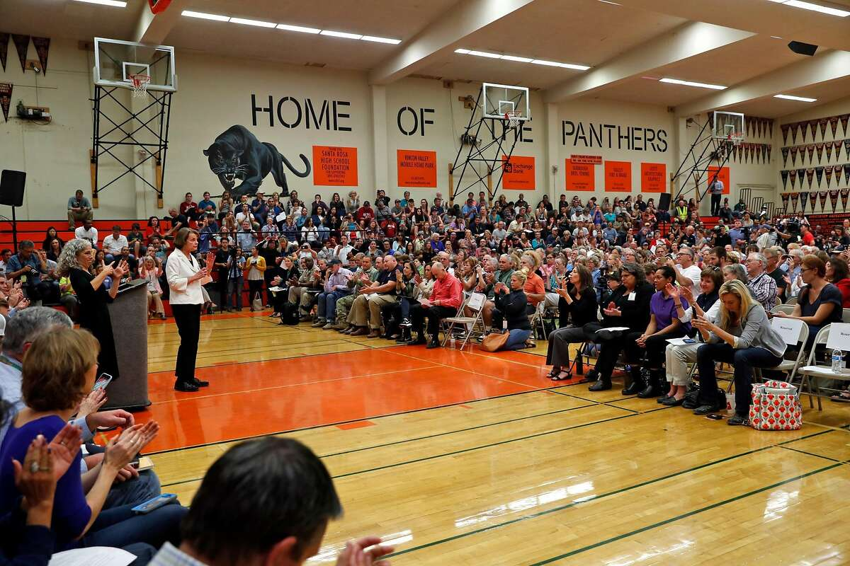 Senator Dianne Feinstein speaks during a Sonoma County Fire Response and Recovery community meeting at Santa Rosa High School in Santa Rosa, Calif., on Saturday, October 14, 2017.