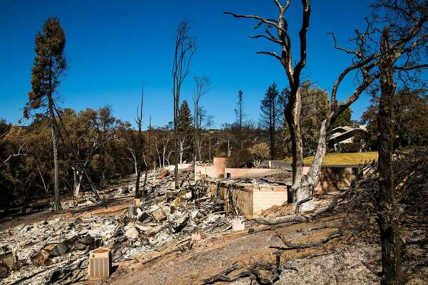 Houses on Deer Hollow Drive are seen destroyed in Napa, Calif. Saturday, October 14, 2017.
