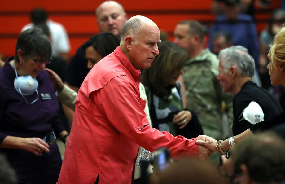 California Governor Jerry Brown greets a community member before a Sonoma County Fire Response and Recovery community meeting at Santa Rosa High School in Santa Rosa, Calif., on Saturday, October 14, 2017. Photo: Scott Strazzante, The Chronicle